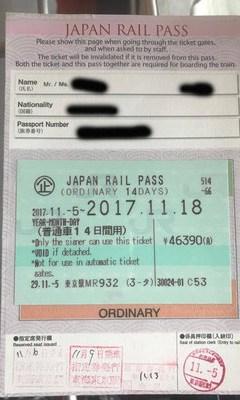Japan Rail Pass compilato